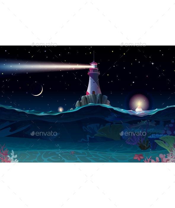 Night Sea Background - Backgrounds Decorative