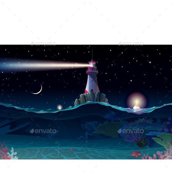 Night Sea Background