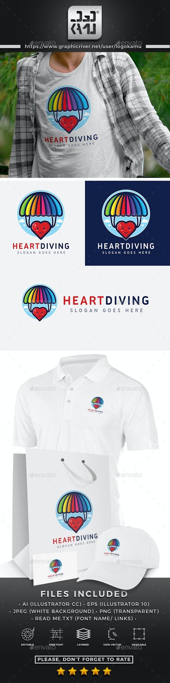 Heart Diving Logo - Symbols Logo Templates