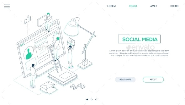 Social Media Marketing - Line Design Style - Concepts Business