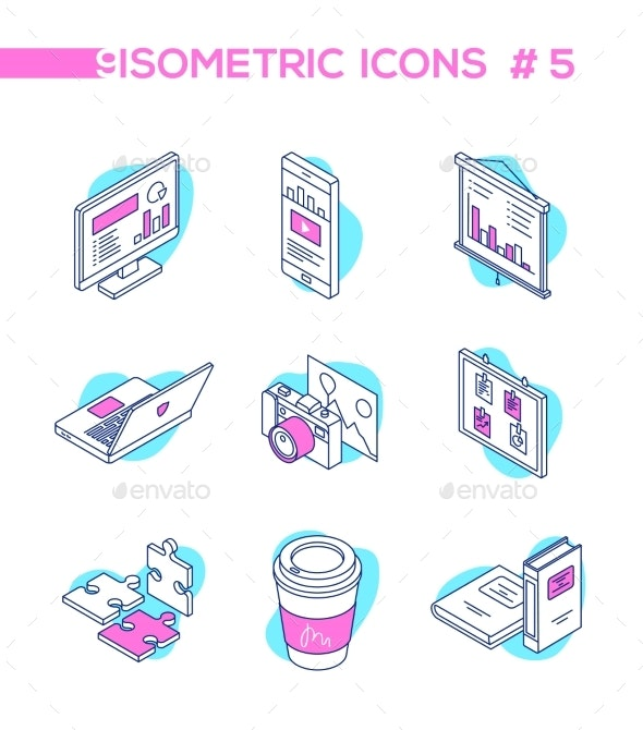 Business Analytics - Line Design Style Isometric - Concepts Business