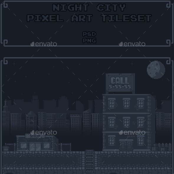 Night City Pixel Art Tileset