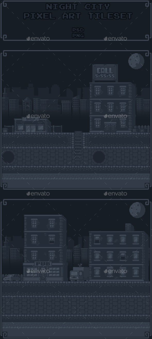 Night City Pixel Art Tileset - Tilesets Game Assets