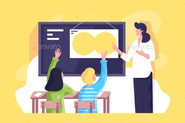 Flat Classroom with Young Woman Teacher - Miscellaneous Vectors