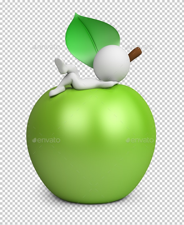 3D Small People - Lying on an Apple - Characters 3D Renders