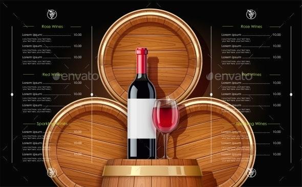Wooden Barrels and Bottle of Wine - Miscellaneous Vectors