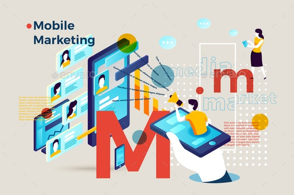 Vector Letter M with Mobile Marketing Infographic - Computers Technology