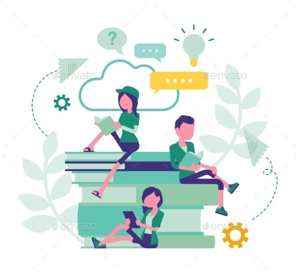 Student Friends Reading Books - Miscellaneous Vectors
