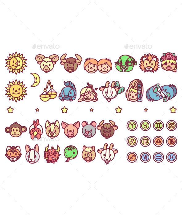 Horoscope Icons Set - Miscellaneous Characters