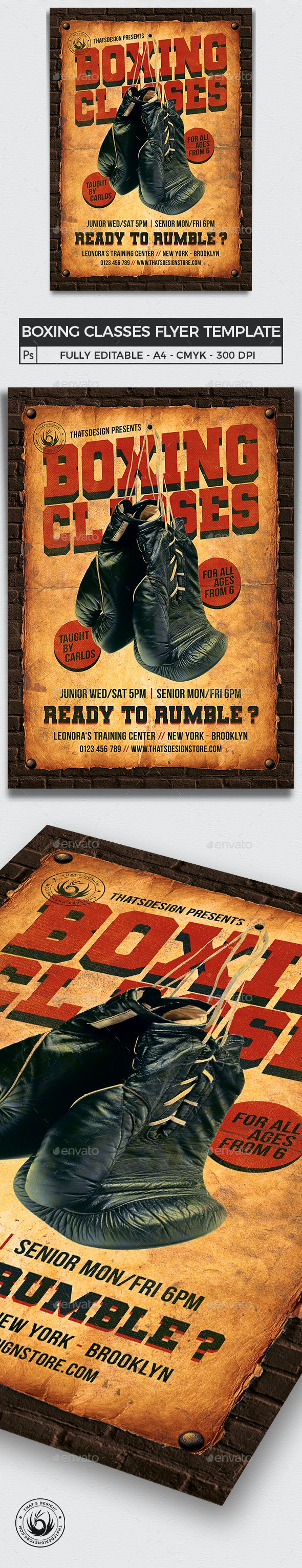 Vintage Boxing Classes Flyer Template - Sports Events