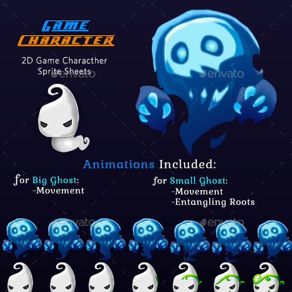 Monster Ghosts 2D Game Character Sprites