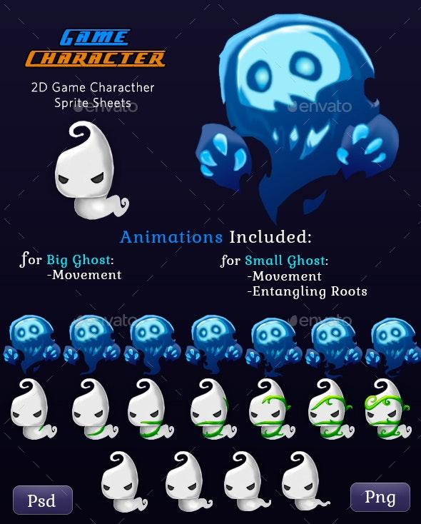 Monster Ghosts 2D Game Character Sprites - Sprites Game Assets