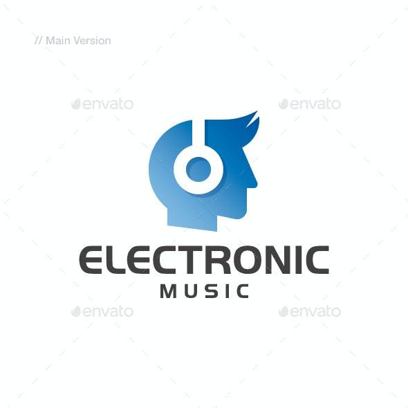 Electronic Music - Head & Headphone Logo