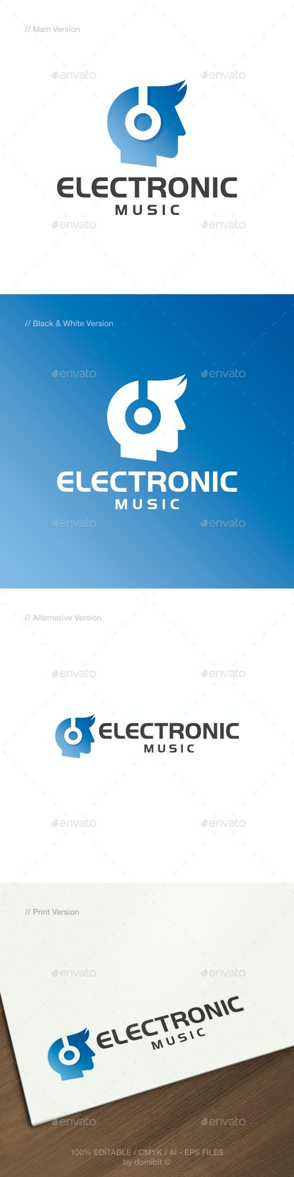 Electronic Music - Head & Headphone Logo - Humans Logo Templates