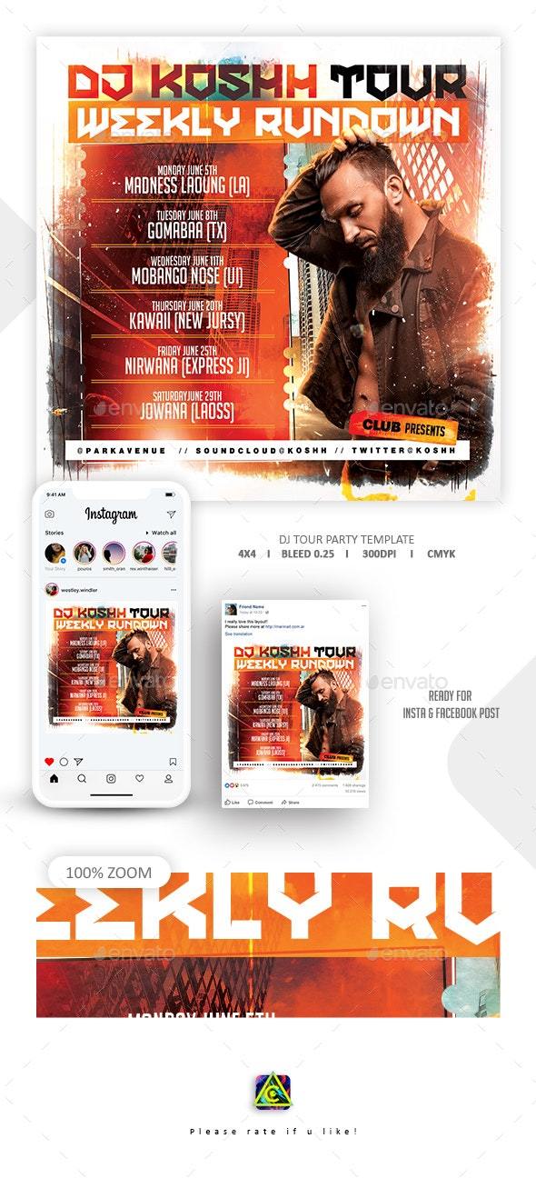 Dj Tour Flyer Template - Clubs & Parties Events
