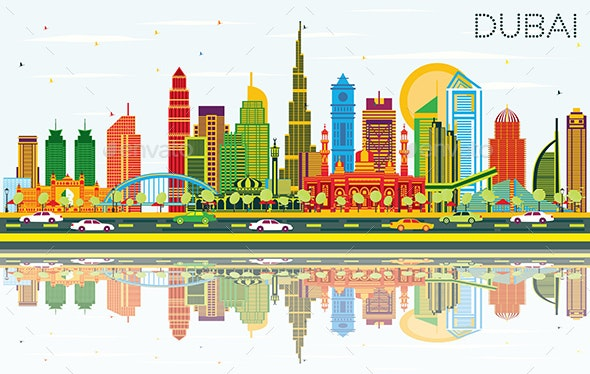 Dubai UAE City Skyline with Color Buildings, Blue Sky and Reflections. - Buildings Objects