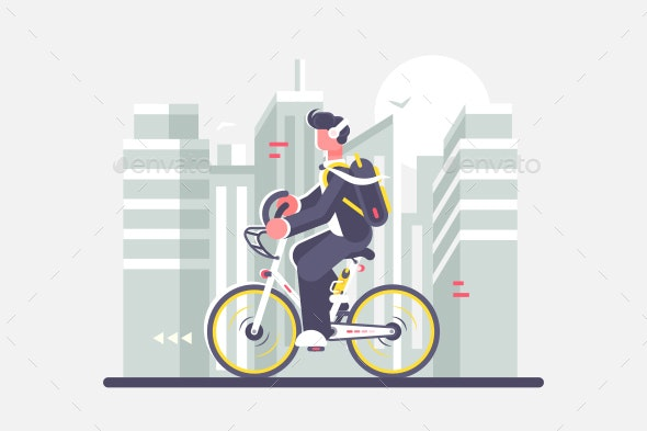 Man Riding Bike on Cityscape Background - Buildings Objects