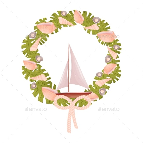 Decorative Marine Wreath in Green Shades - Objects Vectors