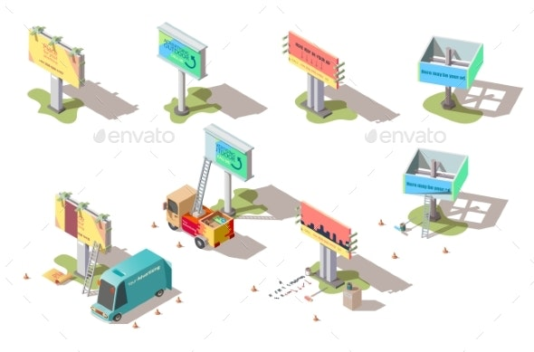 Isometric Billboards, Advertising Street Banners - Man-made Objects Objects