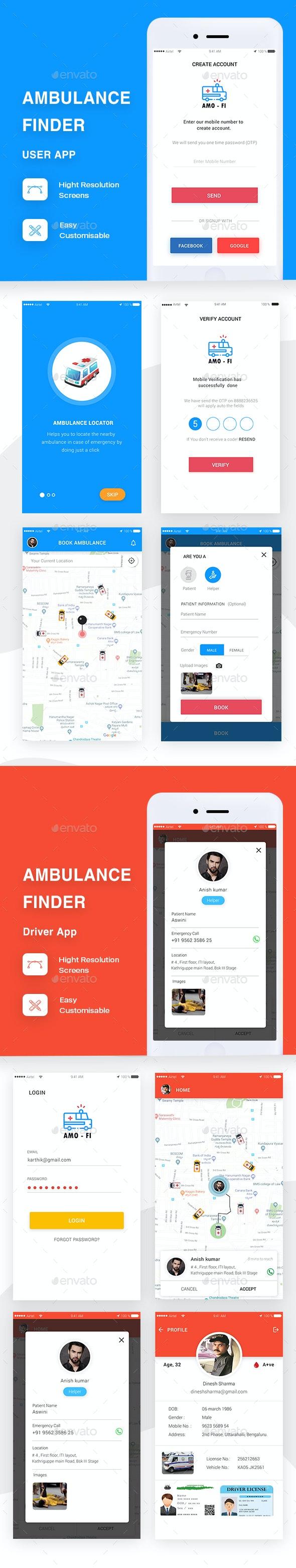 Ambulance Finder App Full UI By Brandzinkind