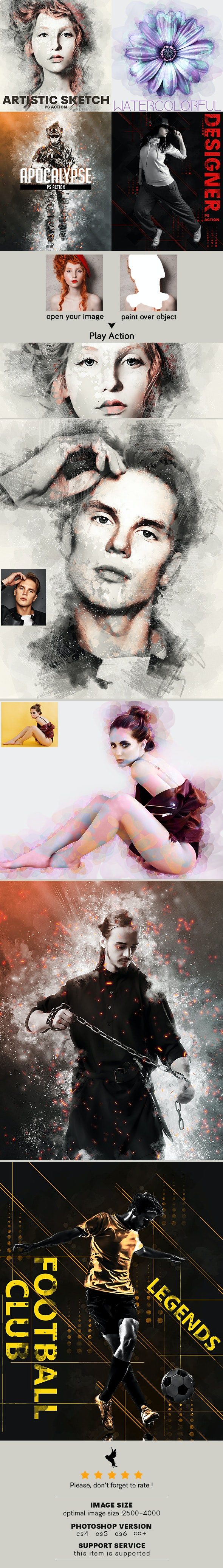 4 In One Pro Photoshop Actions V2 Bundle - Photo Effects Actions