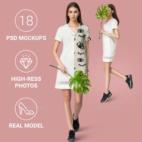 Female Minimalistic Dress Mockup Set