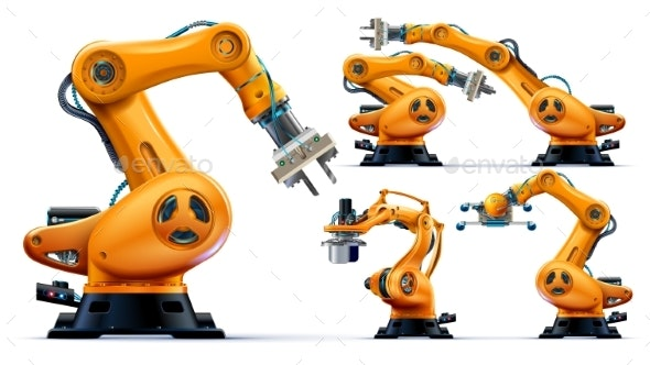 Automated robot arms isolated on white background. Hydraulic machine hand. illustration custom set. - Industries Business