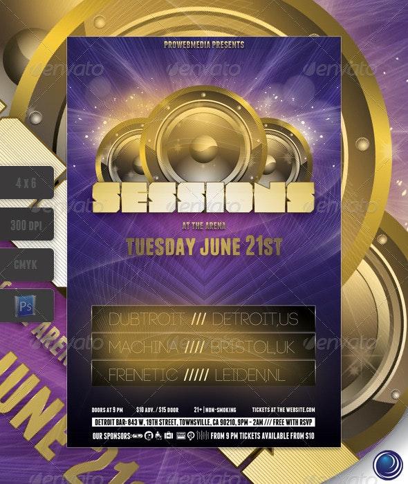 Golden Music Flyer Template - Clubs & Parties Events