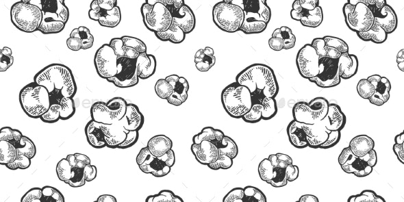 Popcorn Seamless Pattern Sketch Engraving Vector - Food Objects