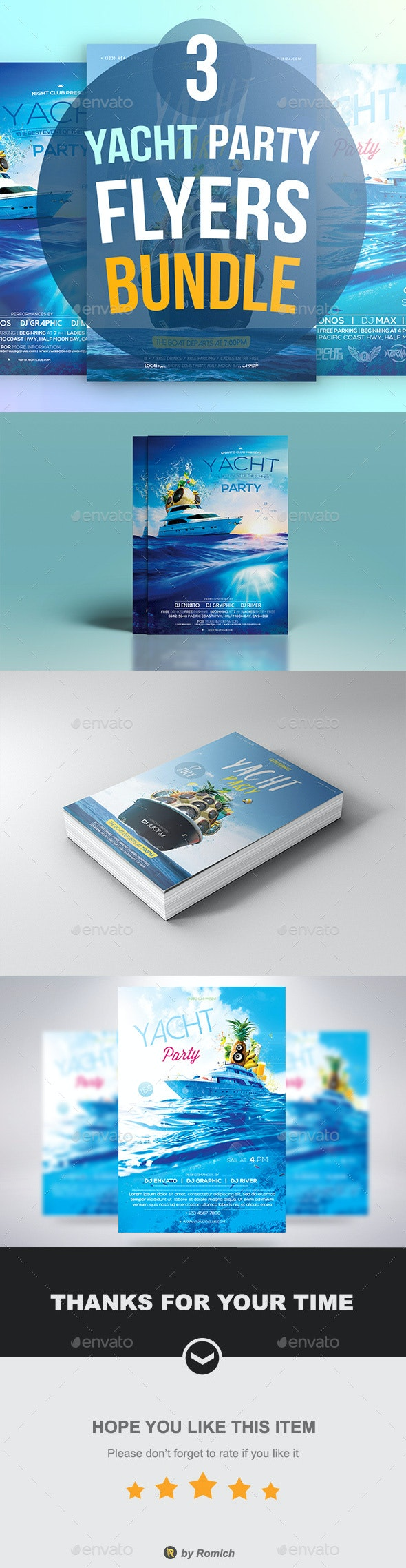 3 Yacht Party Flyers Bundle - Clubs & Parties Events