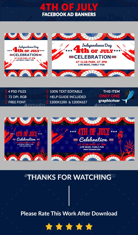 4th of July Facebook Ad Banner-4 Design-Image Included - Banners & Ads Web Elements