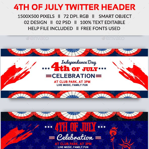4th of July Twitter Header-2 Design- Image Included