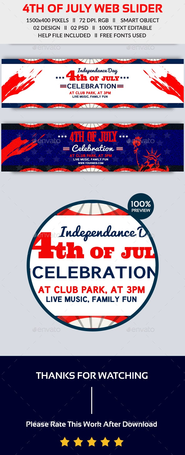 4th of July Web Slider-2 Design- Image Included - Sliders & Features Web Elements