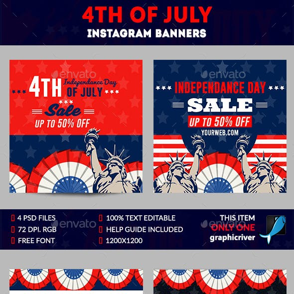 4th of July Instagram-4 Design-Image Included