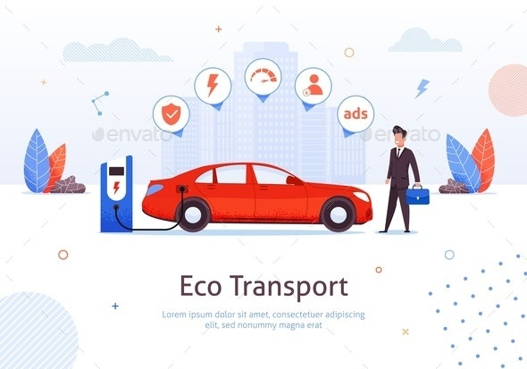 Businessman at Eco Electric Car Charging Station - Industries Business