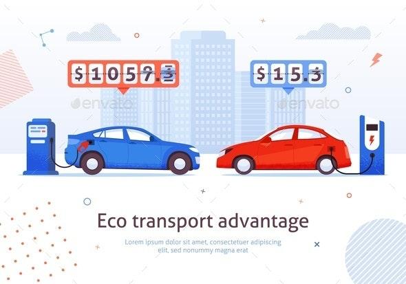 Eco Transport Advantage Petrol Auto Electric Car - Miscellaneous Vectors