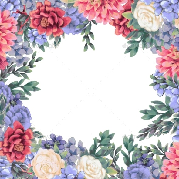 Floral Frame for Design Save the Date Cards - Borders Decorative