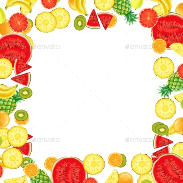 Hand Drawn Exotic Fruit Frame Isolated on White - Borders Decorative
