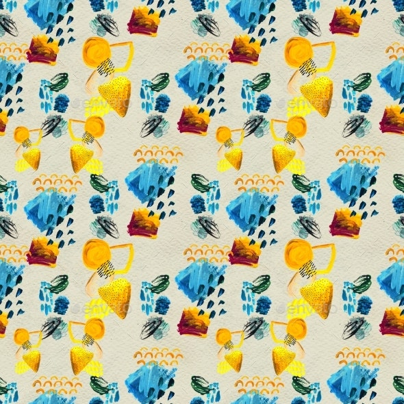 Seamless Pattern Made By Hand Drawn Paint Strokes. - Patterns Decorative