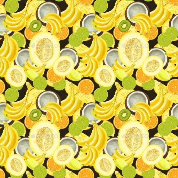Hand Drawn Seamless Pattern with Bananas, Coconuts - Patterns Decorative