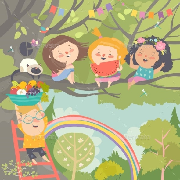 Children Playing and Having Fun in the Tree - People Characters