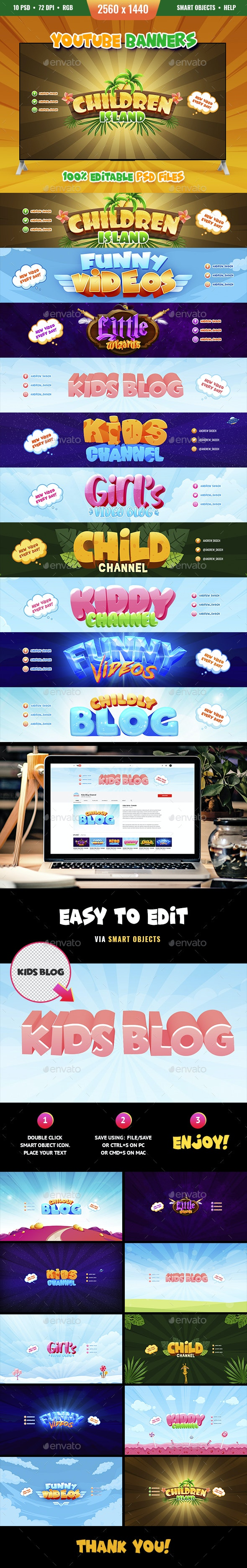 Kid Blog - 10 Youtube Banners - YouTube Social Media