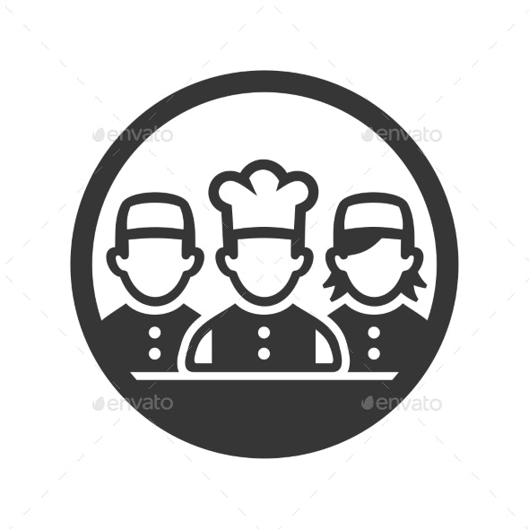 Chef Cook Logo Icon on White Background - People Characters