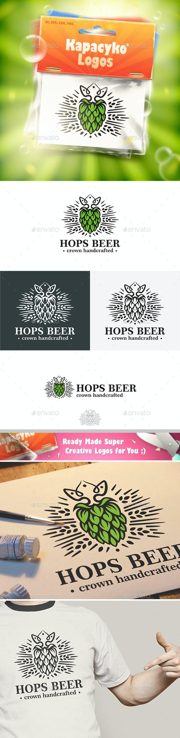 Hops Beer Crown Logo - Crests Logo Templates