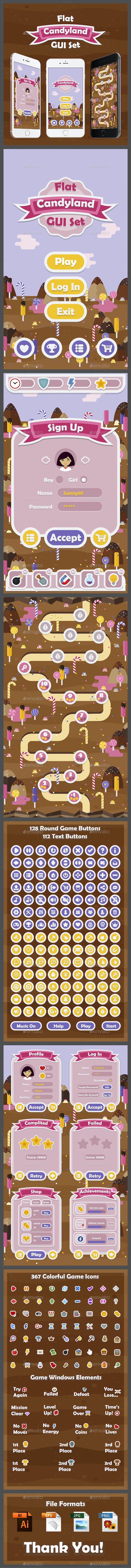 Flat Candyland GUI Set - User Interfaces Game Assets