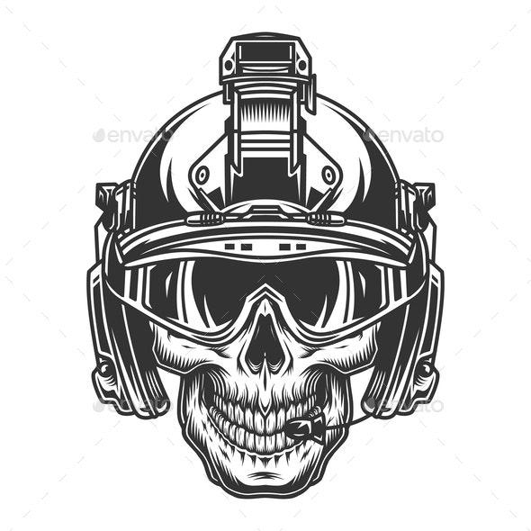 Skull in Helmet - Miscellaneous Vectors