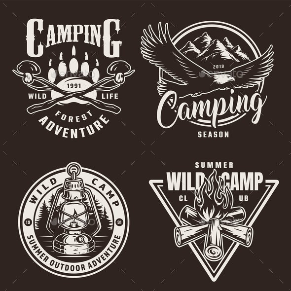 Vintage Camping Badges - Animals Characters