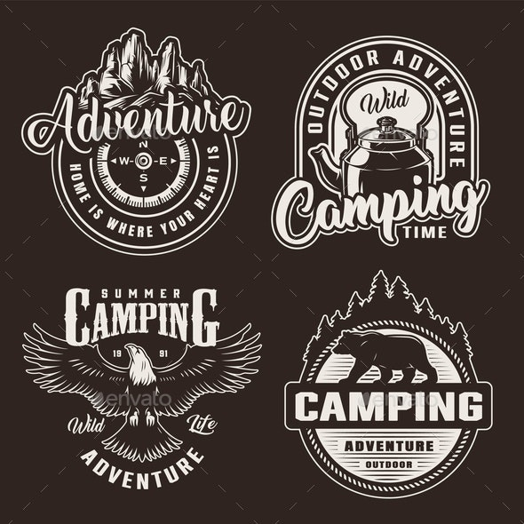 Vintage Monochrome Summer Recreation Logotypes - Animals Characters