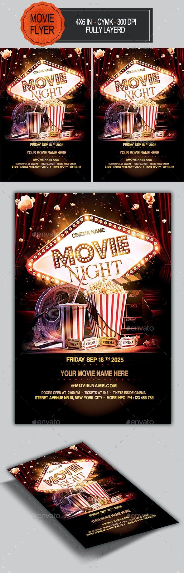 Movie Night Flyer - Clubs & Parties Events