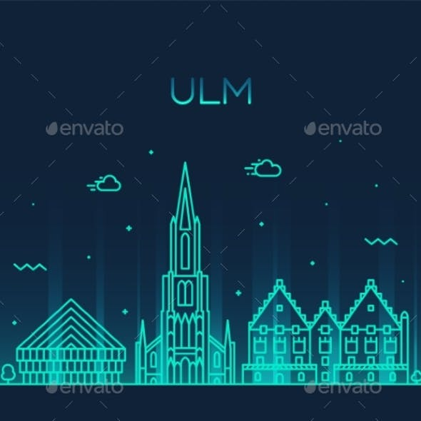 Ulm Skyline Germany Baden Vector Linear Style